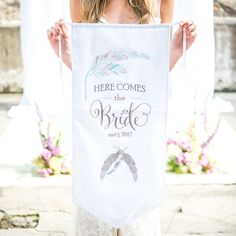 Feather Whimsy Personalized Ceremony Banner Sea Blue