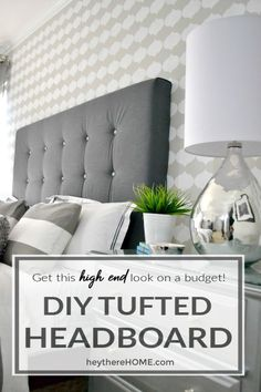 Learn how to make a fabric headboard with tufting for a really high end look. Click through for the easy tutorial! via Learn how to make a fabric headboard with tufting for a really high end look. Click through for the easy tutorial! Diy Tufted Headboard, King Headboard, Diy Headboards, Tufting Diy, Headboard Ideas, Diy Furniture Easy, Furniture Design, Furniture Ideas, Rustic Furniture