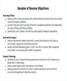 Objective For Resume Entry Level General Objectives Samples Accounting Officer Sample