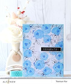 RejoicingCrafts: Congrats! Altenew Painted Flowers stamp set. #altenew #flower