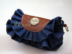 2013 super fashion denim bag skirts packet jeans handbag flounced denim bag lace packet free shipping hot selling