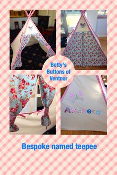 Personalised teepee from Betty's Buttons of Ventnor. Large 1.4m square and 1.5m high teepee, any name, colour or design. Check out Betty's Buttons of Ventnor on Facebook