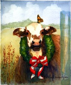 Have a MOOry Christmas, painting by artist V. Bridges Hoyt