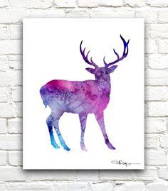 Purple Deer Art Print Abstract Blue Buck by 1GalleryAbove on Etsy
