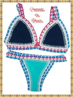 Biquíni Neon em Crochê Passo a passo Tops A Crochet, Crochet Bra, Crochet Bikini Top, Tapestry Crochet, Love Crochet, Halter Bikini, Bikini Tops, Summer Surf, Swimsuits