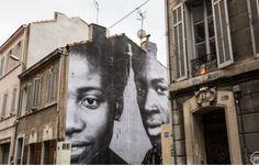 """JR in Marseille - France - """"Portrait de mes grands-parents Berthe & Diallo, Mali, 1973"""" - Lieu de collage: 25 Bd Bouès - www.jr-art.net"""