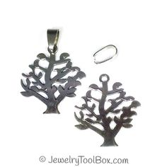 Tree of Life Pendant Finding, Stainless Steel Charm, Silver Tone, 30x27x1mm, Hypoallergenic, Non Tarnish,  Lot Size 1 to 5, #1829