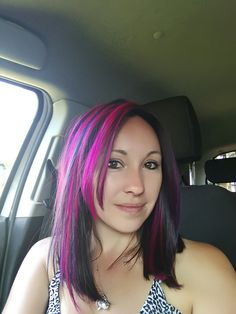 Pink and dark brown hair colour