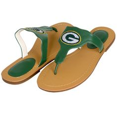 Green Bay Packers Women's Bright Flat Sandal at the Packers Pro Shop http://www.packersproshop.com/sku/1401483160/