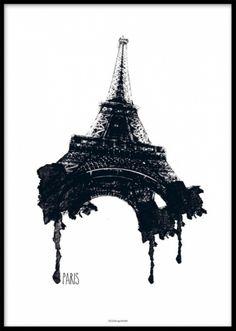 Riktigt snygg poster, Eiffeltornet med rinnande färg. Snygg Paris tavla.