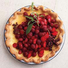 Lemon Basil Custard Pie with Red Berries Recipe - Delish.com