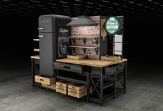Kitchen station for beer related products on Behance Beer Store, Exhibition Booth, Machine Design, Booth Design, Kiosk, Behance, Kitchen, Art Direction, Display Ads