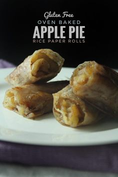 Baked Apple Pie rice Paper Rolls - dip rice paper in water starting at seconds then until soft. Don't keep in water too long or rice paper will dissolve. Best baked at 20 minutes, turning often, and served with scoop of ice cream. Gluten Free Baking, Vegan Baking, Gluten Free Desserts, Vegan Gluten Free, Gluten Free Apple Pie, Dairy Free, Rice Paper Recipes, Recipe Paper, Gf Recipes