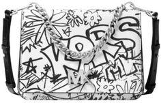 ee8963533a76 Graffiti Mott Large White and Black Leather Cross Body Bag. Michael Kors ...