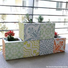 The EASIEST & PRETTIEST Outdoor Decor Project - How to Stencil DIY Cement Cinder Block Planters - Royal Design Studio Stencils