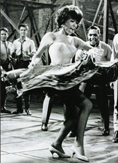 """Rita Moreno, as Anita in West Side Story I consider the ensemble dance number to """"America"""" one of the greatest ever on screen and on Broadway, and Rita is pure gold in it. Rita Moreno, Shall We Dance, Lets Dance, Classic Hollywood, Old Hollywood, Film Musical, Broadway, Cinema Tv, Dance Like No One Is Watching"""