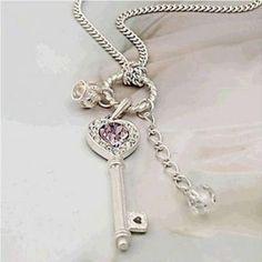 Elegant Style Key Crown Heart Shape Purple Crystal Inlaid Pendant Women's Necklace, SILVER in Necklaces   DressLily.com