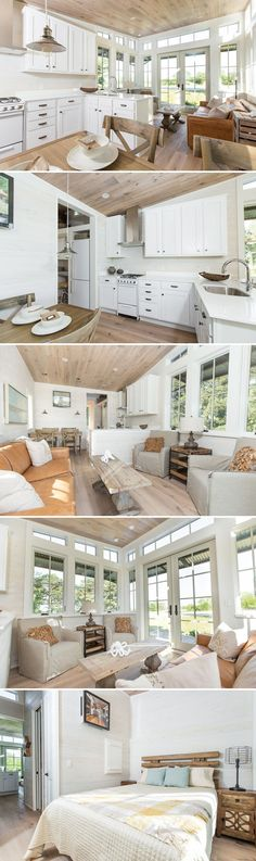 "With 270° views, the Saltbox by Clayton Tiny Homes offers a bright and spacious living area. As part of Clayton's Designer Series, the 450-square-foot modular home finishes include stylish vertical shiplap wood siding and 7"" oak hardwood flooring."