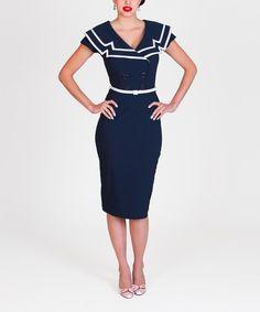 Look what I found on #zulily! Navy & White Captain Dress - Women & Plus by Tatyana #zulilyfinds