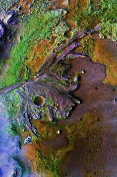 The remains of a river delta on Mars.