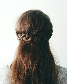 Hairstyles of the Month / half crown braid tutorial / braided hairstyle / half up / red hair / Aubur. Half Crown Braids, Braided Crown, Crown Hair, Braided Updo, Trendy Hairstyles, Braided Hairstyles, Updo Hairstyle, Medium Hair Styles, Long Hair Styles