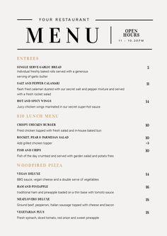 Customizable Restaurant Menu Templates - Easil - Easil Restaurant Menu Template, Restaurant Menu Design, Restaurant Branding, Booklet Layout, Menu Layout, Funny Vintage Ads, Spicy Wings, Classic Restaurant, Fast Food Menu