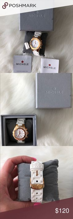Michele jelly bean watch white/rose gold Michele jelly bean watch in white and rose gold hardware  Barely ever worn and in LIKE new condition  Comes with all original packaging including authenticity box pillow and extra watch attachment Accessories Watches