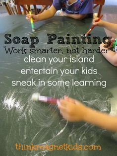 3 in 1! Soap paint....clean, entertain, and learn. A win-win activity for all.