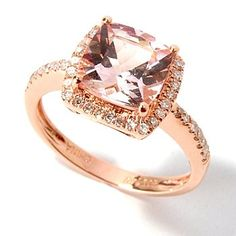 Morganite(center stone) Rose Gold with Diamonds