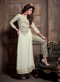 Graceful Off White Georgette Pant Style Suit | Item Code: 4682