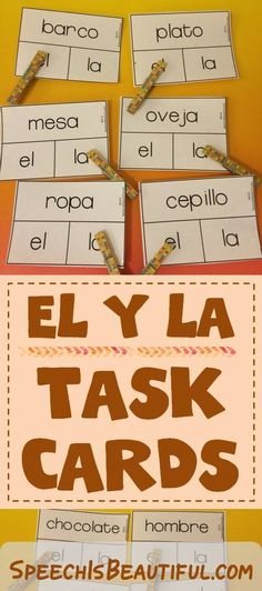 Kids struggle to learn articles in Spanish -- these task cards in combo with clothspins make reviewing EL y LA super fun and easy!