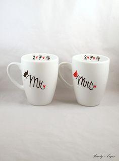 Hochzeitsgeschenk für MR & MRS Hochzeit Tassen von Lovely-Cups   auf DaWanda.com