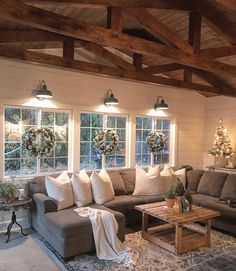 "Farmhouse Ideas 🏡 on Instagram: ""The coziest farmhouse living room we've ever seen! 😍 what do you think? ❤🙌 We love that comfy couch and the wreaths on the windows! 🎄 TAG a…"""