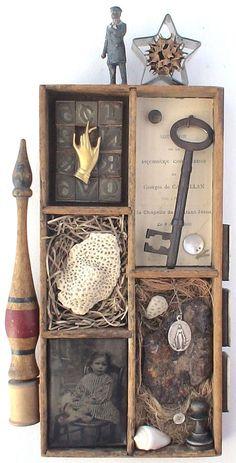 assemblage art, sculpture using found objects, mixed media art Shadow Box Kunst, Shadow Box Art, Found Object Art, Found Art, Altered Boxes, Altered Art, Mixed Media Collage, Collage Art, Collages