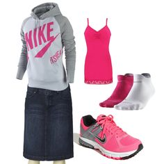 Actually kinda cute! Idk if I could pull off tennis shoes with a skirt tho