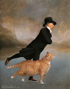 Russian artist Svetlana Petrova re-imagines classic art masterpieces with the very welcome addition of her fat Ginger Cat. Skating Minister and Cat based on Reverend Robert Walker Skating on Duddingston Loch by Sir Henry Raeburn Fat Cats, Cats And Kittens, Kitty Cats, Crazy Cat Lady, Crazy Cats, I Love Cats, Cool Cats, James Abbott Mcneill Whistler, Illustration Art