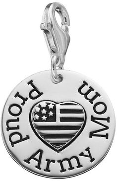"personal charm Sterling Silver ""Proud Army Mom"" Charm"