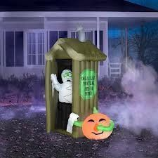 6.5' Tall Airblown Inflatable Halloween Mummy Coming out of Outhouse . $148.50. This 6.5' Tall Airblown Inflatable Halloween Mummy Coming out of Outhouse self-inflates in seconds. It's easy to set up and store. Stakes and tethers are included.    6.5' Tall Airblown Inflatable Halloween Mummy Coming out of Outhouse:?Measures 6.5'H ?Lights up ?Weather-resistant design ?Self-inflates in seconds ?Deflates down for easy storage ?Quick and easy set-up ?Stakes and tethers ...