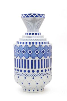 Geometric pattern vase by Jaime Hayon for Kutani Choemon.