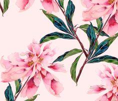 Pink Peonies fabric by gabbymalpas on Spoonflower - custom fabric #Spoonflowerwrapper
