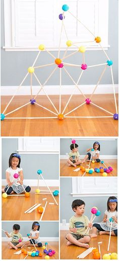 Encourage building skills and open-ended play with this easy and fun DIY stick fort for kids. Fun engineering or STEM project for kids.