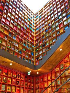 The Museum of Picture Books, aka the Picture Book Library. Located in Iwaki City, Fukushima Prefecture in Japan, it was designed by Japanese architect Tadao Ando in The museum was originally designed for preschools. Beautiful Library, Dream Library, Library Books, Library Card, Reading Books, Fukushima, Library Pictures, Tadao Ando, Children's Picture Books