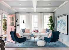 Four plush chairs take center stage in the newly-remodeled living room at HGTV Urban Oasis 2017 highlighting the architecture of this Craftsman layout with historical inspiration. - July 06 2019 at Coastal Living Rooms, New Living Room, Living Room Interior, Home And Living, Living Room Furniture, Living Room Decor, Living Spaces, Modern Living, Small Living