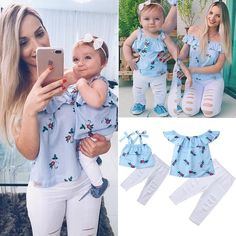 Summer Family Matching Mother Daughter Floral Print Striped Sleeveless Tops Hole Pants Clothes Mom Girl Kid Family Look Clothing Baby Girl Romper, Baby Dress, Baby Girls, Mommy And Me Outfits, Kids Outfits, Trendy Outfits, Holiday Outfits, Fashion Outfits, Outfits Madre E Hija