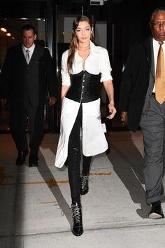 gigi hadid corset outfit