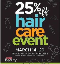 Now until March 20th get 25% off in the Beauty Department at HEB including #HairXT100
