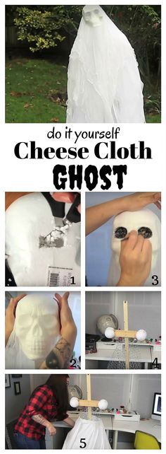 Make this DIY Halloween ghost from cheese cloth with these simple instructions. Diy Halloween Ghosts, Homemade Halloween, Halloween Treats, Halloween Decorations, Halloween Costumes, Fun Projects For Kids, Cheese Cloth, Trick Or Treat, Simple