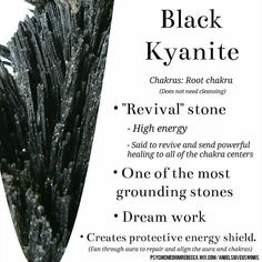 crystal meanings About the physical and metaphysical properties of kyanite, a blue silicate gemstone, that is popular with the crystal healing community. Crystal Uses, Crystal Healing Stones, Crystal Magic, Stones And Crystals, Black Crystals, Crystal Cluster, Gem Stones, Quartz Crystal, Minerals And Gemstones