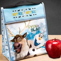 Better than a paper bag – insulated, reusable, durable   Featuring Disney Frozen Olaf the Snowman  Made from 35% recycled material  Insulation keeps contents cool  Reusable, durable, lightweight  Easily wipes clean  Large capacity, yet folds flat for easy storage
