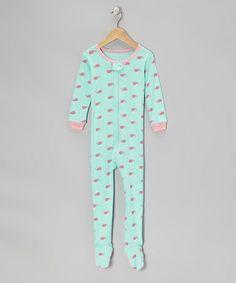Green & Pink Whale Footie - Infant, Toddler & Kids #zulily #zulilyfinds